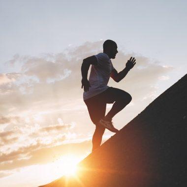 Male runner trains