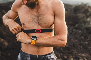 Male runner wearing professional chest heart rate monitor